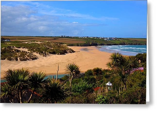 Surfing Magazine Greeting Cards - Crantock beach North Cornwall England UK near Newquay with palm trees and blue sky Greeting Card by Michael Charles
