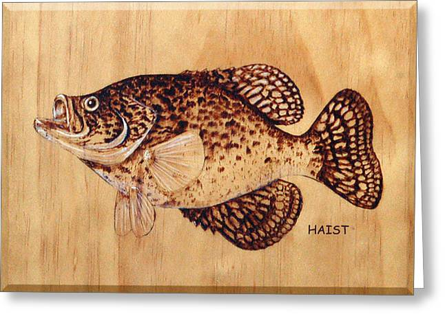 Strawberry Pyrography Greeting Cards - Crappie Greeting Card by Ron Haist