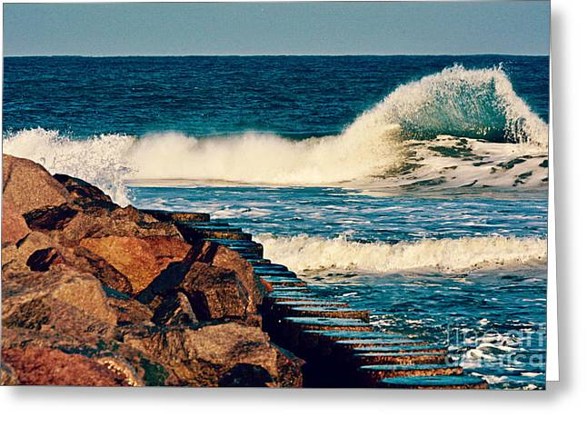 Ocean Art Photography Greeting Cards - Crashing Against the Cove Rocks Greeting Card by Kelly Nowak