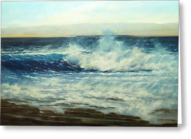 Maine Beach Greeting Cards - Crashing Surf Greeting Card by Barbara Applegate