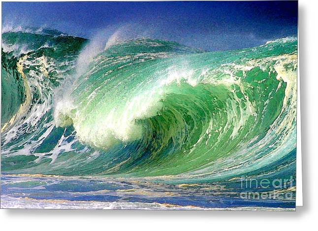 Surf Art Digital Art Greeting Cards - Crashing Surf Greeting Card by Paul Topp