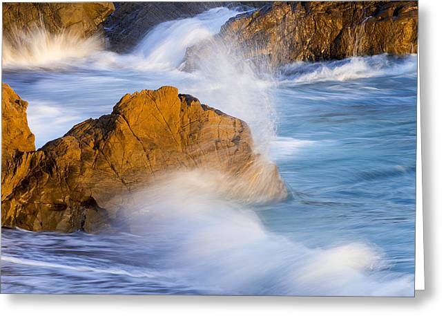 Cambria Greeting Cards - Crashing Waves at Sunset Greeting Card by Kerry Drager