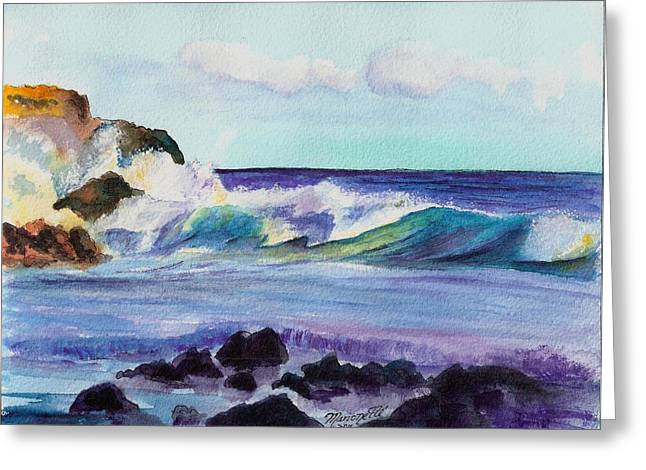 Marionette Greeting Cards - Crashing Waves Greeting Card by Marionette Taboniar