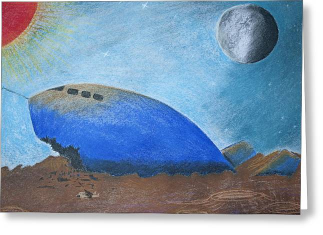 Planets Pastels Greeting Cards - Crashlanding Greeting Card by Jose Valeriano