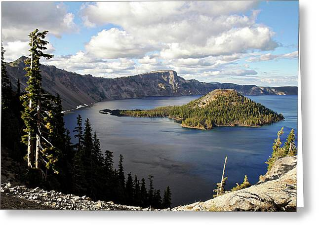 Translucent Greeting Cards - Crater Lake - Intense blue waters and spectacular views Greeting Card by Christine Till