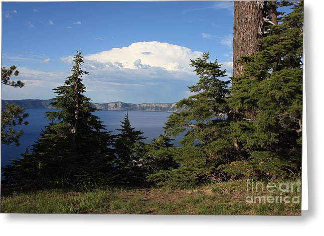 Interesting Clouds Greeting Cards - Crater Lake 8 Greeting Card by Carol Groenen