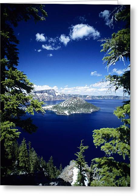 Snowy Day Greeting Cards - Crater Lake Greeting Card by Allan Seiden - Printscapes