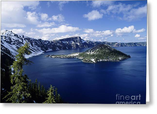 Howell Greeting Cards - Crater Lake and Wizard Island Greeting Card by Michael Howell - Printscapes