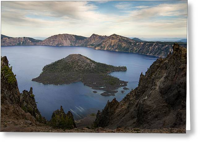 Crater Lake Sunset Greeting Cards - Crater Lake at Sunset Greeting Card by Tod Colbert