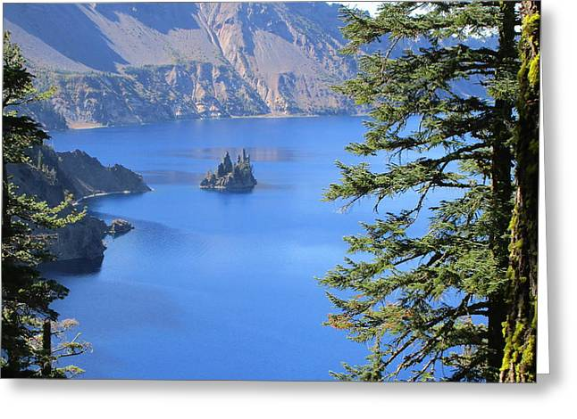 Crater Lake Ghost Ship Island Greeting Card by Marie Neder