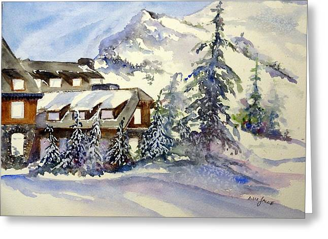 Craters Paintings Greeting Cards - Crater Lake Lodge - Closed For Winter    Greeting Card by Anna Jacke