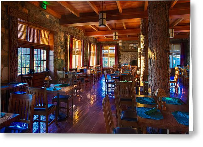 Crater Lake Greeting Cards - Crater Lake Lodge Dining Room Greeting Card by Scott McGuire