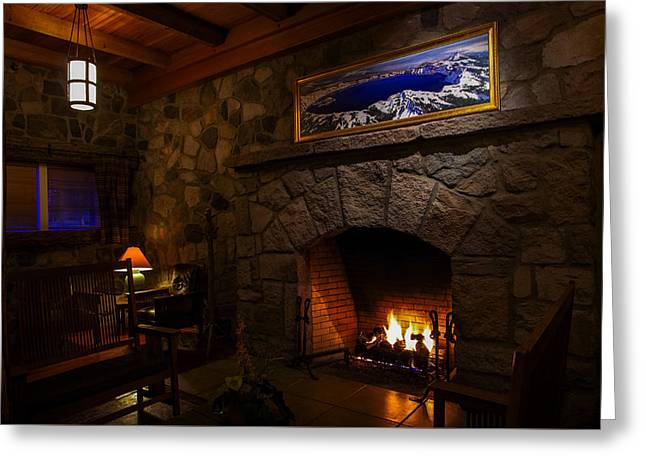 Crater Lake Lodge Fireside Relaxation Greeting Card by Scott McGuire