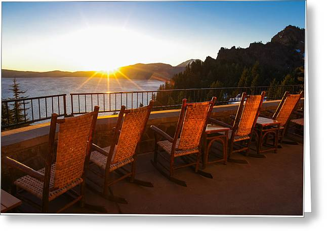 Crater Lake Greeting Cards - Crater Lake Lodge Porch Sunrise Greeting Card by Scott McGuire