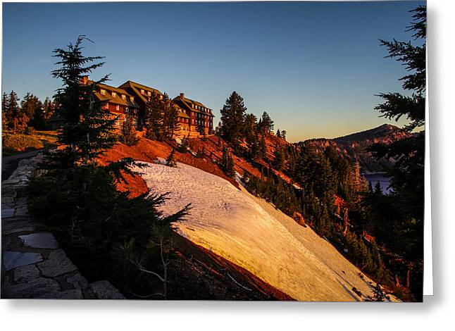 Crater Lake Greeting Cards - Crater Lake Lodge Sunrise Greeting Card by Scott McGuire