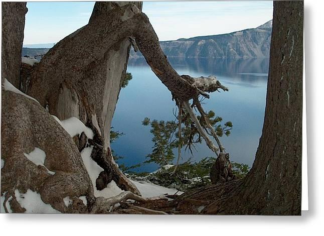 Crater Lake View Greeting Cards - Crater Lake Greeting Card by Lori Seaman
