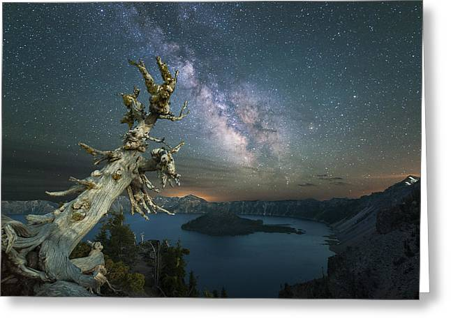 Craters Greeting Cards - Crater Lake Milky Way Greeting Card by Keith Marsh