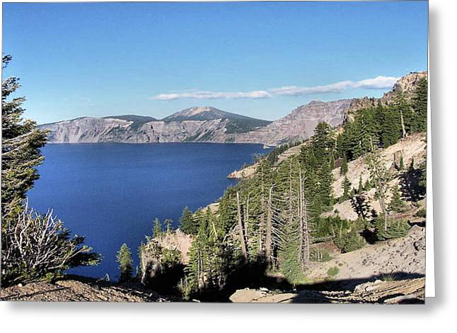 Western Contemporary Interior Decorators Greeting Cards - CRATER LAKE  mountain panorama scene picture decor  Greeting Card by John Samsen