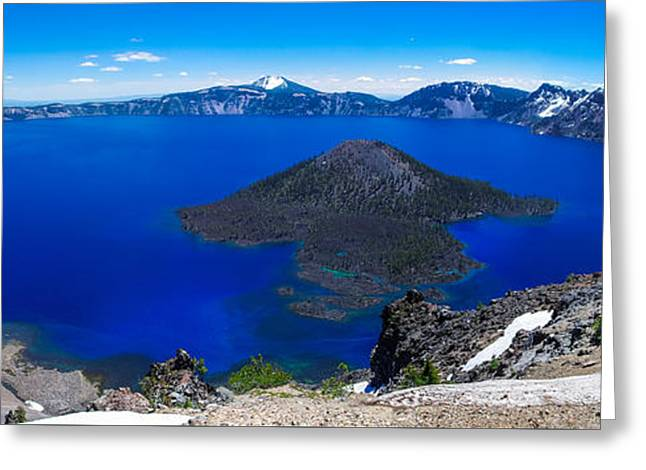 Crater Lake National Park Panoramic Greeting Card by Scott McGuire