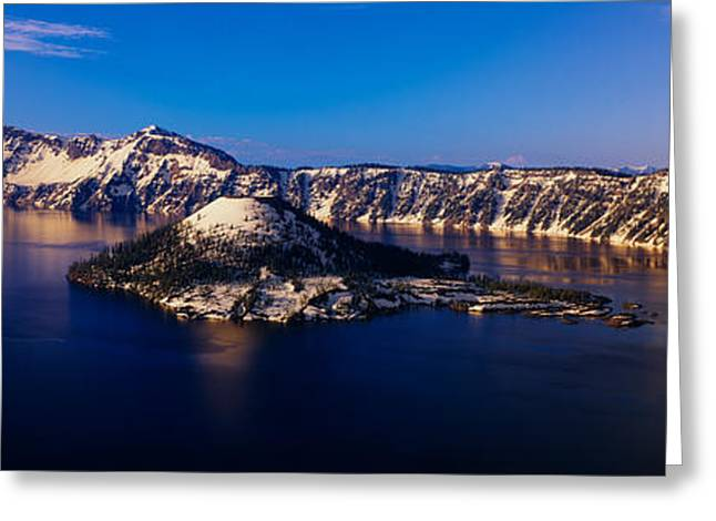 Crater Lake Panorama Greeting Cards - Crater Lake, Oregon At Winter Greeting Card by Panoramic Images