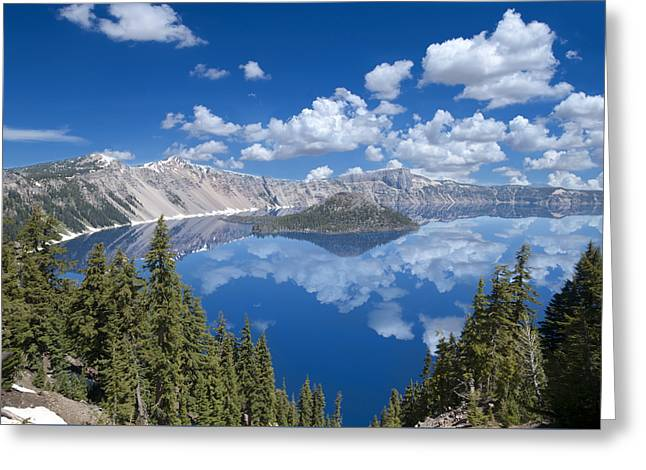 Crater Lake Reflections Greeting Card by Loree Johnson