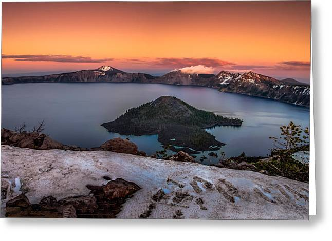 Crater Lake Greeting Cards - Crater Lake Summer Sunset Greeting Card by Scott McGuire