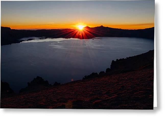 Crater Lake Sunset Greeting Cards - Crater Lake Sunset from Cloudcap Greeting Card by James Unkov