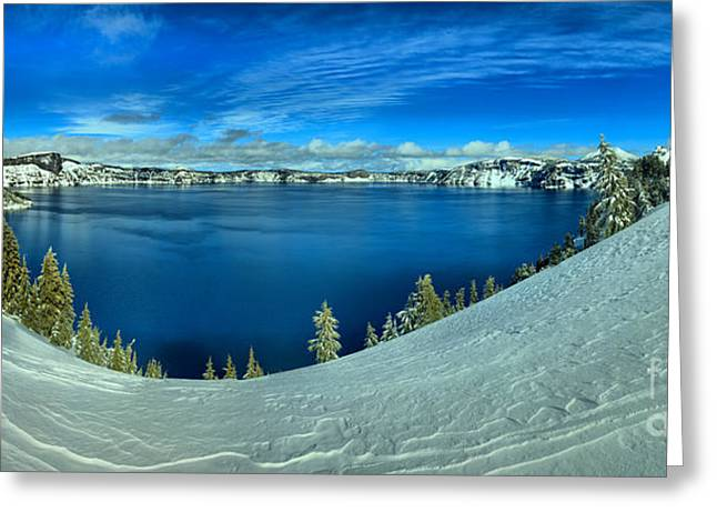 Crater Lake Winter Panorama Greeting Card by Adam Jewell