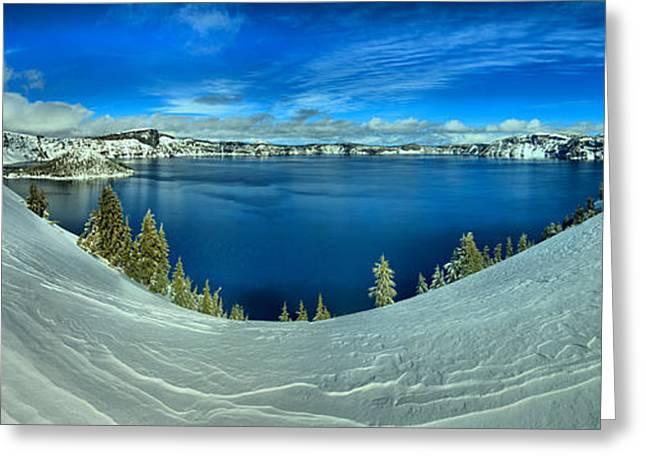 Crater Lake Winter Panorama Scene Greeting Card by Adam Jewell