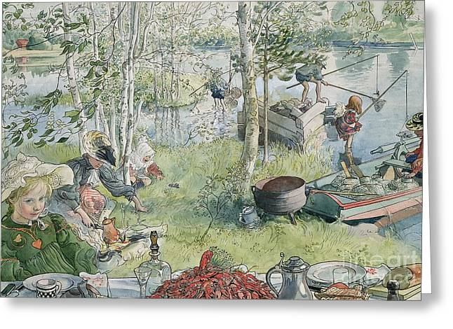 Fishing Rods Greeting Cards - Crayfishing Greeting Card by Carl Larsson