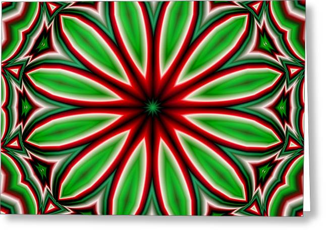 Kaleidoscope Greeting Cards - Crazy Christmas Flower Greeting Card by Ruth Moratz