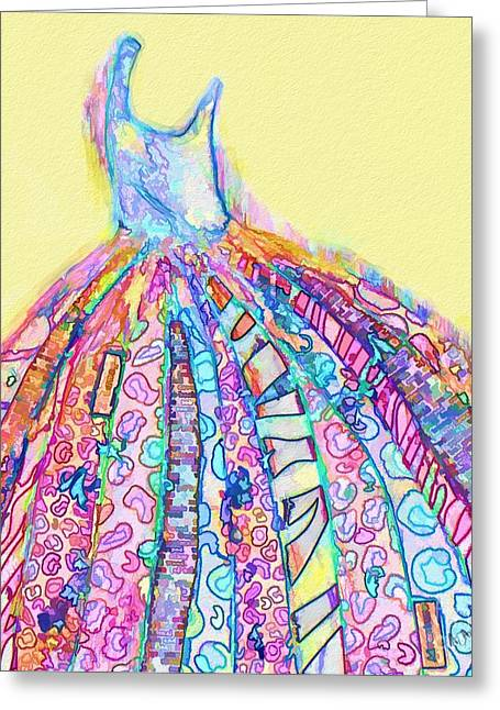 Evening Dress Mixed Media Greeting Cards - Crazy Color Dress Greeting Card by Andrea Auletta