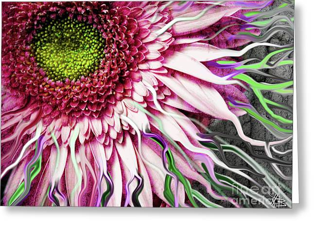 Floral Digital Art Digital Art Greeting Cards - Crazy Daisy Greeting Card by Christopher Beikmann