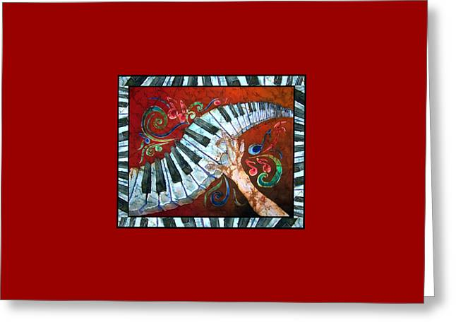 Sue Duda Greeting Cards - Crazy Fingers- Piano Keyboard - Bordered Greeting Card by Sue Duda