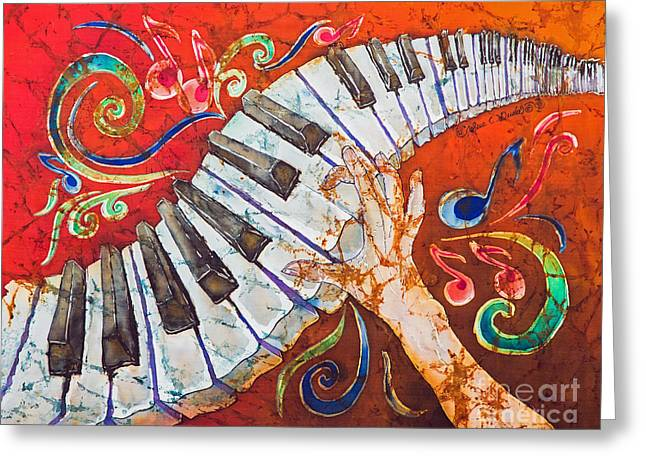 Silk Art Tapestries - Textiles Greeting Cards - Crazy Fingers - Piano Keyboard  Greeting Card by Sue Duda