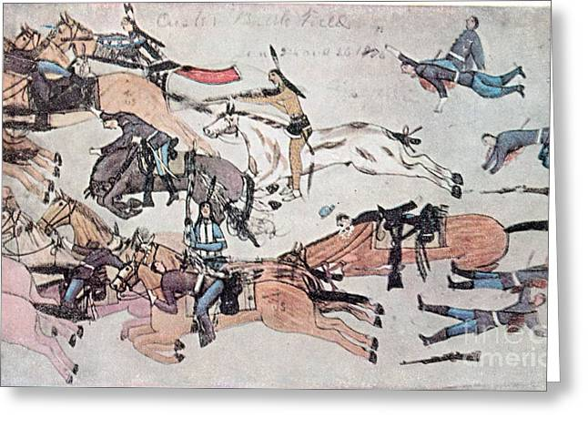 Oglala Greeting Cards - Crazy Horse At The Battle Of The Little Greeting Card by Photo Researchers