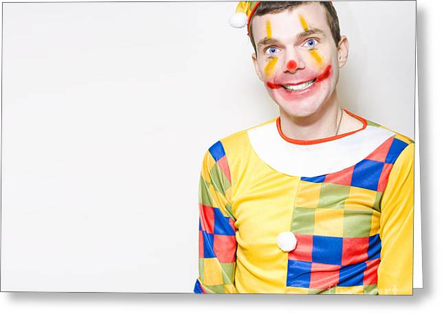Amusements Greeting Cards - Crazy Male Birthday Party Clown With Funny Smile Greeting Card by Ryan Jorgensen