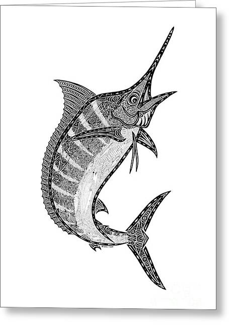Diving Drawings Greeting Cards - Crazy Marlin Greeting Card by Carol Lynne