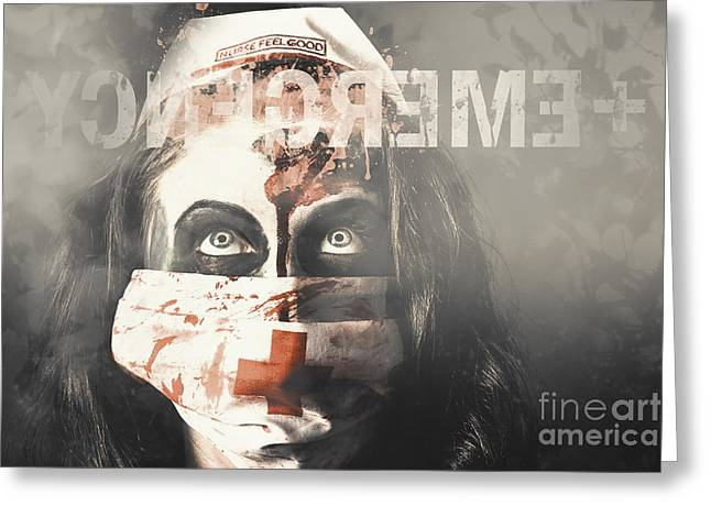 Crazy Nurse Of Death Looking At Emergency Sign Greeting Card by Jorgo Photography - Wall Art Gallery