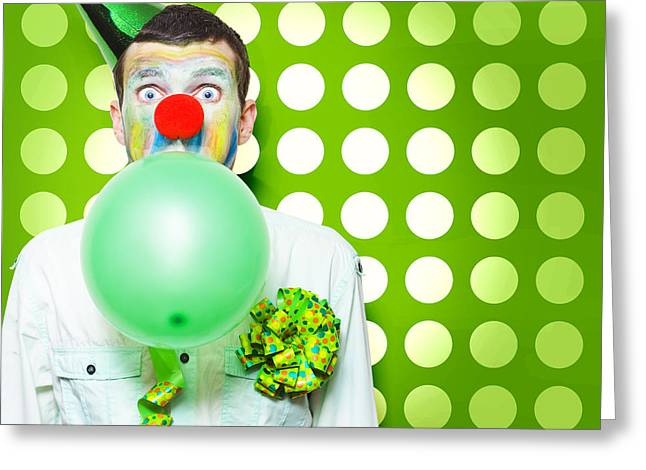 Crazy Party Clown Inflating Green Party Balloon Greeting Card by Jorgo Photography - Wall Art Gallery