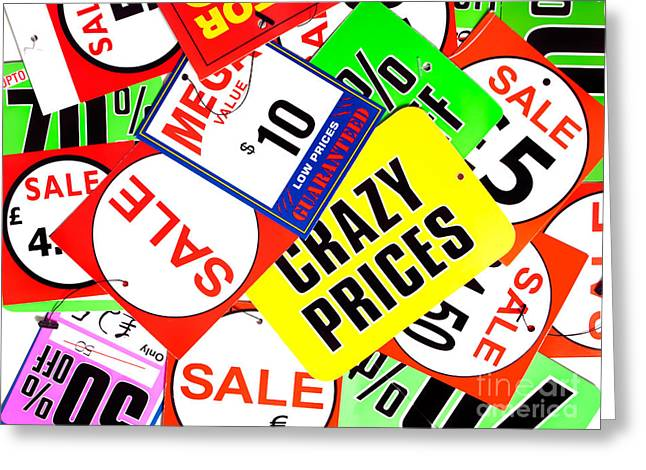 Label Greeting Cards - Crazy prices Greeting Card by Sinisa Botas