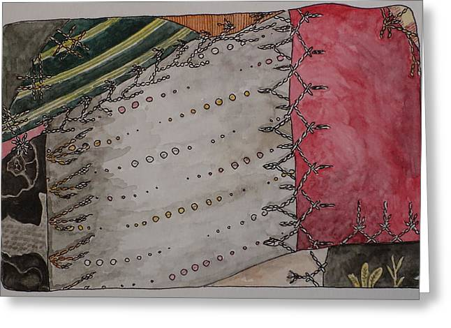 Crazy Quilt Greeting Cards - Crazy Quilt Silk Greeting Card by Jane Durrell