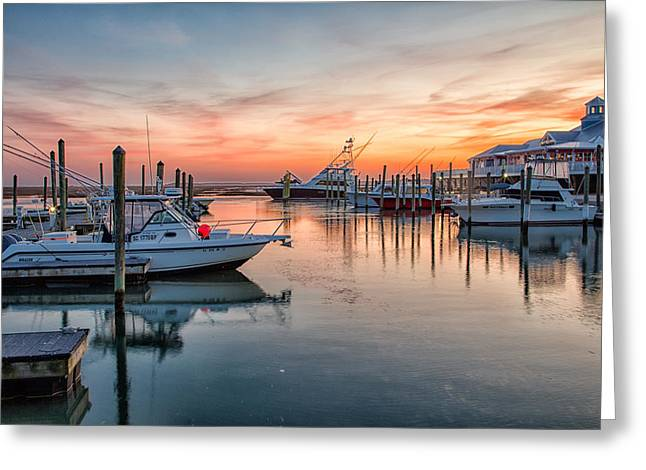 Fishing Boats Greeting Cards - Crazy Sisters Marina Greeting Card by Christine Martin-Lizzul