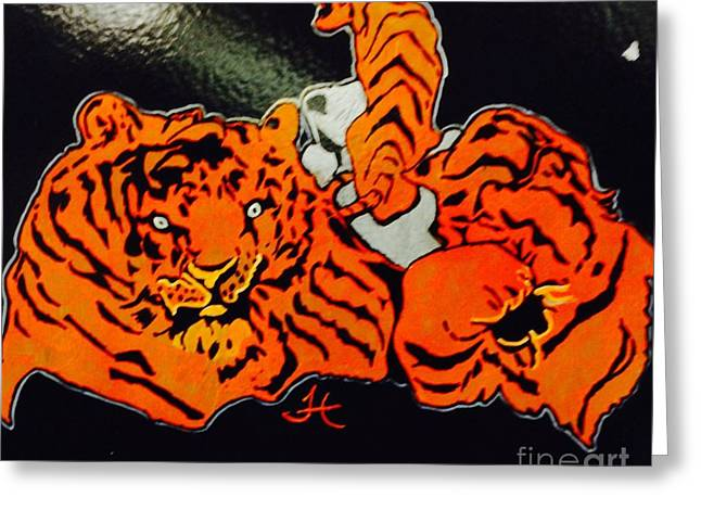The Tiger Mixed Media Greeting Cards - Crazy Tigers Greeting Card by Franky A HICKS