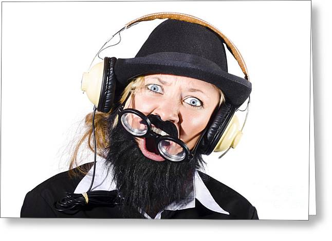 Headphones Greeting Cards - Crazy woman with headphones Greeting Card by Ryan Jorgensen
