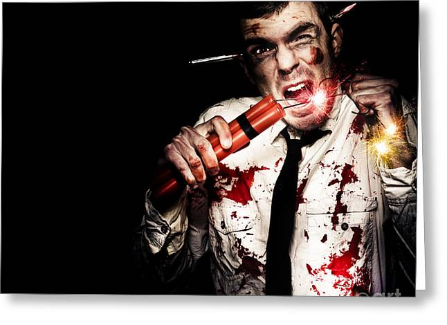 Character Concept Greeting Cards - Crazy Zombie Businessman With Dynamite Explosives Greeting Card by Ryan Jorgensen
