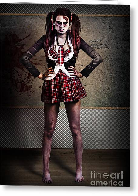 Crazy Zombie School Student. Tales From The Crypt  Greeting Card by Jorgo Photography - Wall Art Gallery