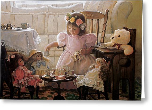 Little Girl Greeting Cards - Cream and Sugar Greeting Card by Greg Olsen