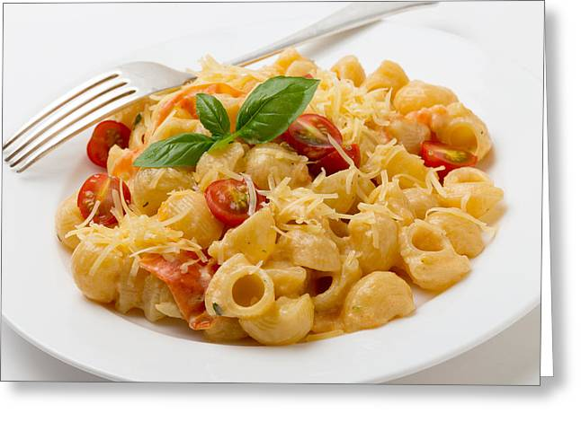 Cream And Tomato Pasta With Fork Greeting Card by Paul Cowan