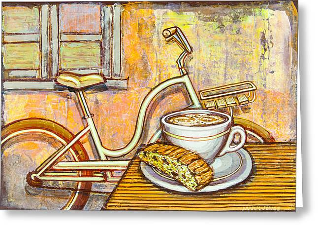Biscotti Greeting Cards - Cream Electra Town bicycle with cappuccino and biscotti Greeting Card by Mark Howard Jones